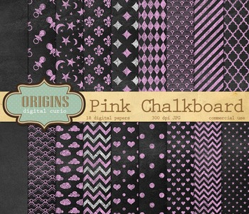 Pink Chalkboard digital paper patterns and textures