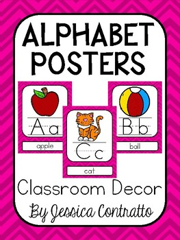 Pink Chevron ABC Posters