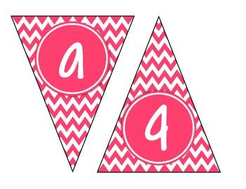 Pink Chevron Alphabet Banner Set (upper & lowercase, numbers 0-9)