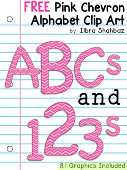 Pink Chevron Alphabet Clipart {FREEBIE}