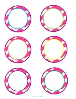Pink Chevron Blank Circle Labels