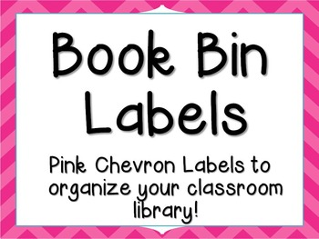 Pink Chevron Book Bin Book Tub Labels for Classroom Library