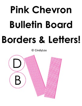 Pink Chevron Bulletin Board Border and Letter Set
