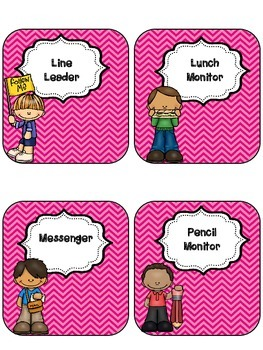 Pink Chevron Classroom Jobs