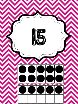 Pink Chevron Classroom 1-30 Numbers and Ten Frames