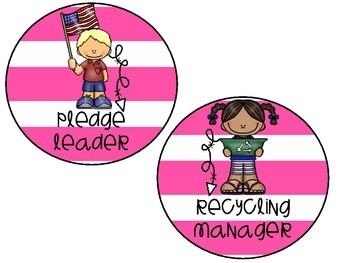 Pink Striped Classroom Jobs