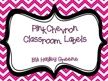 Pink Chevron Classroom Labels - Large