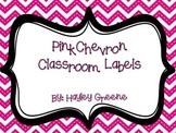 Pink Chevron Classroom Labels - Large
