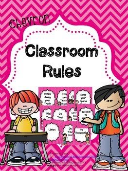 Pink Chevron Classroom Rules