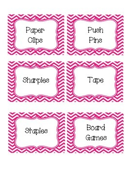 Pink Chevron Classroom Supply Labels