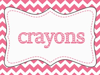 Pink Ombre' Chevron Classroom Supply Labels ~ {16 pack}