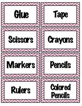 Pink Chevron Classroom Supply Labels