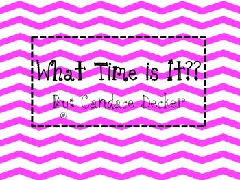 Pink Chevron Clock Times