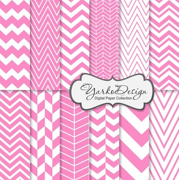 Pink Chevron Digital Scrapbooking Paper Set, 12 Digital Paper Sheets