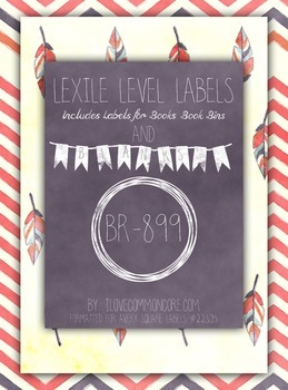 Pink Chevron Feathers Lexile Level Labels for Books and Bo
