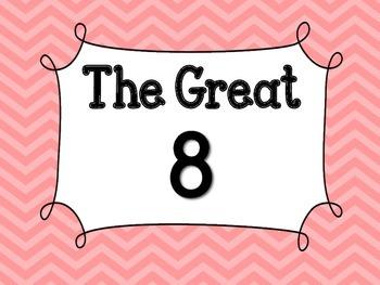 Pink Chevron Great 8 Printables