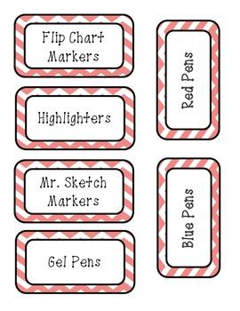 Pink Chevron Labels - Teacher Tool Box
