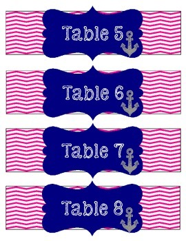Pink Chevron / Navy with anchor Table Numbers (Nautical Theme)