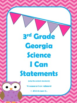 Pink Chevron Owl-Themed 3rd Grade Georgia Science I Can Standards