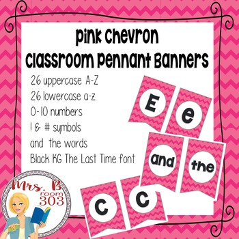 Pink Chevron Pennant Banner letters, numbers, and symbols