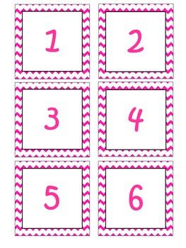 Pink Chevron Pocket Chart Calendar Cards