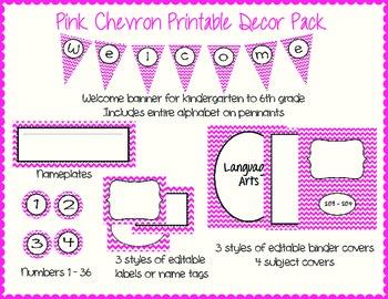 Pink Chevron Printable Decor Pack