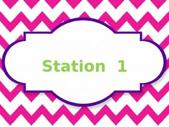 Pink Chevron Station Cards