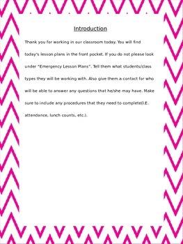 Pink Chevron Substitute Teacher Binder