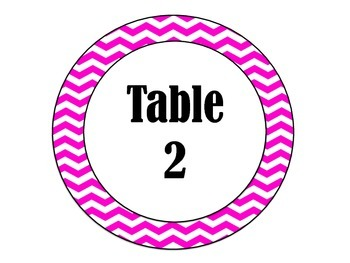 Pink Chevron Table Numbers