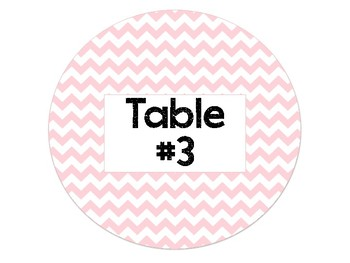 Pink Chevron Table Signs