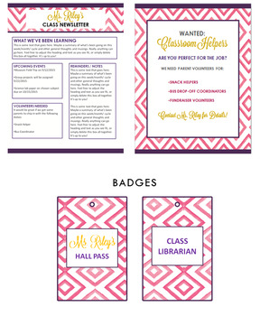 Pink Chevron Teacher Stationery Suite with Editable Teacher Binder Bonus Sheets