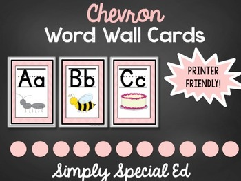 Pink Chevron Word Wall Cards