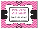 Pink Chevron Word Wall Labels