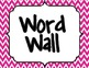 Pink Chevron Word Wall Signs