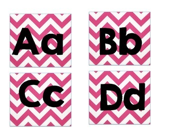 Pink Chevron Word Wall letters