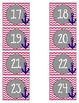 Pink Chevron and Navy Calendar Numbers (nautical theme)