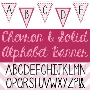 Pink Chevron and Solid Alphabet Pennant Banner