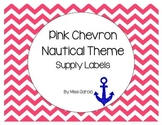 Pink Chevron with Anchor (nautical theme) Supply Labels