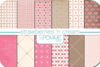 Pink & Chocolate Brown Patterned Digital Paper Pack