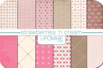 Pink & Chocolate Brown Patterned Digital Paper Pack