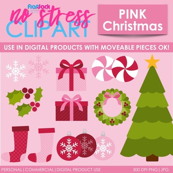 Pink Christmas Clip Art (Digital Use Ok!)