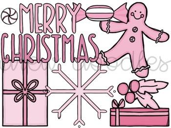 Pink Christmas Digital Clip Art Set