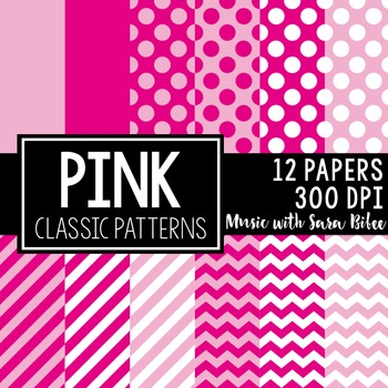 Pink Classic Designs- 12 Digital Papers