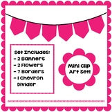 Pink Clip Art Set - Borders, Frames, Banners & Page Divider