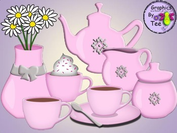 Pink Coffee Set Clipart