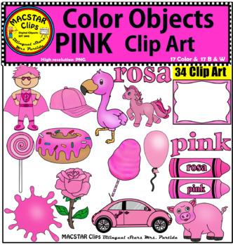 Pink Color Objects Clip Art English & Spanish Personal and Commercial Use