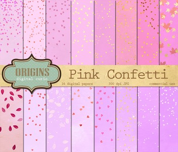 Pink Confetti Digital Paper Pack - Hearts and Stars Sparkle Backgrounds