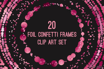Pink Confetti Round Frames 20 PNG Clip Art 8in Foil Metallic S10