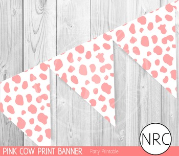 Pink Cow Print Banner - Party Printable
