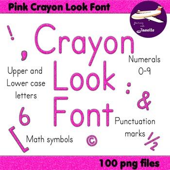Alphabet Clip Art Pink Crayon Look  + Numerals, Punctuatio